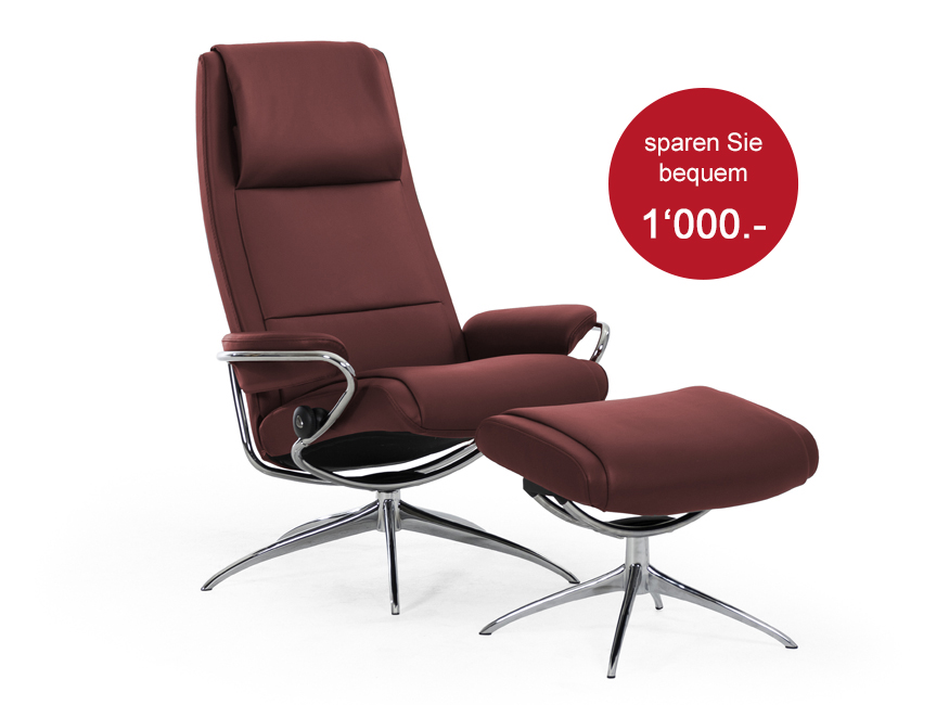 Stressless Paris - Paloma Cherry        Sessel und Hocker
